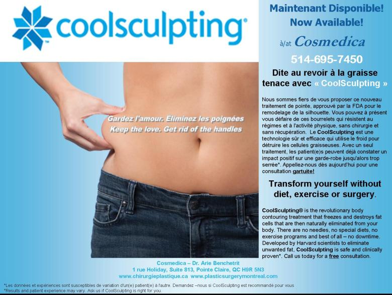 COOLSCULPTING at/à COSMEDICA 514-695-7450