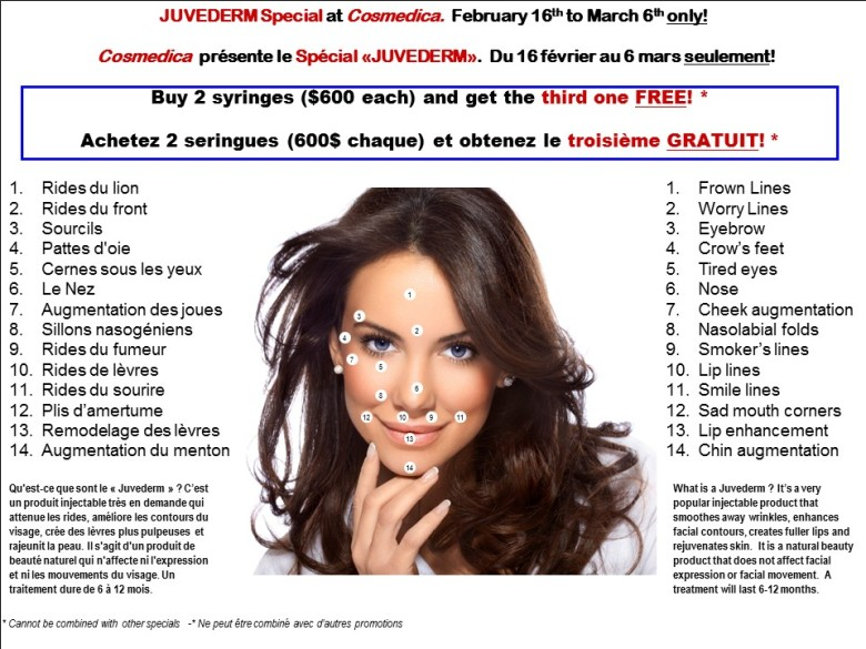 Juvederm Buy 2 Get 1 Free Feb-Mar 2015