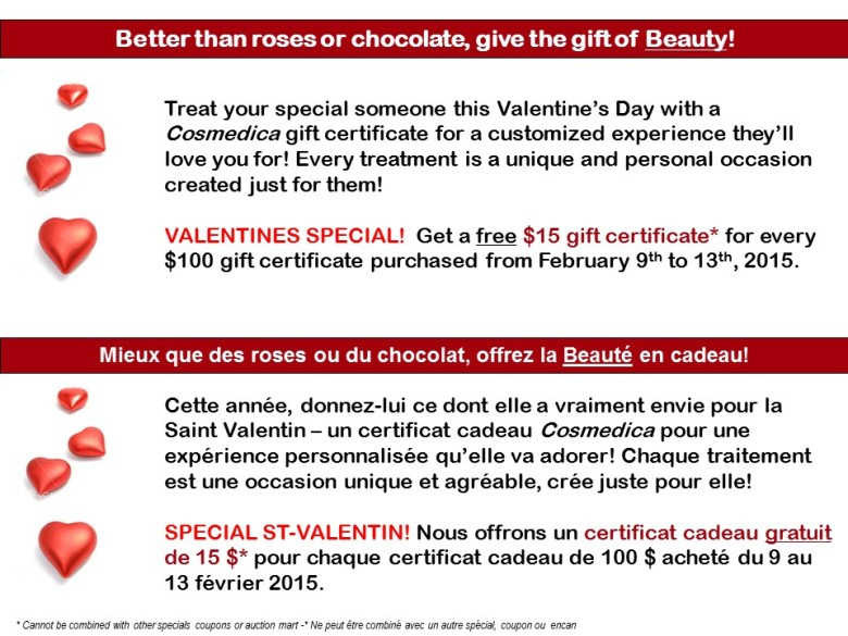Valentine's special gift certificates - 2015